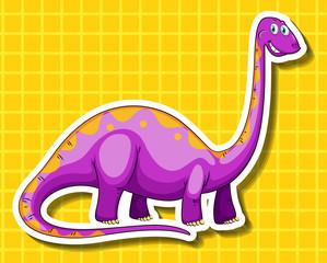 Purple dinosaur on yellow background