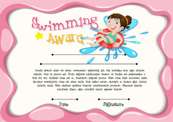 Certificate template with girl swimming