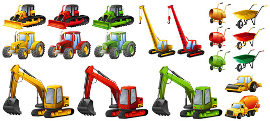 Different tractors and construction equipment