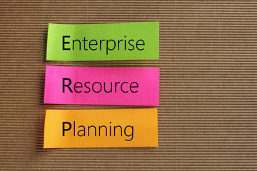 Enterprise Resource Planning (ERP) text on colorful sticky notes