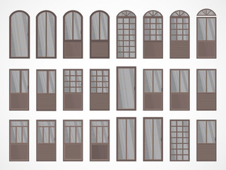 Vector set of different doors.