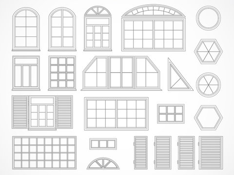 Vector set of contours windows and shutters.