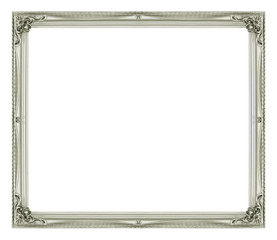 Antique picture gray frame isolated on black background