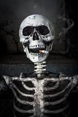 Still life Smoking human skeleton with cigarette, people smoke c
