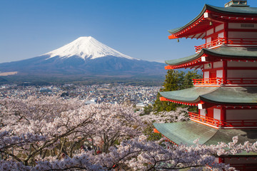 Fotobehang Japan Japan beautiful landscape Mountain Fuji and Chureito red pagoda with cherry blossom sakura