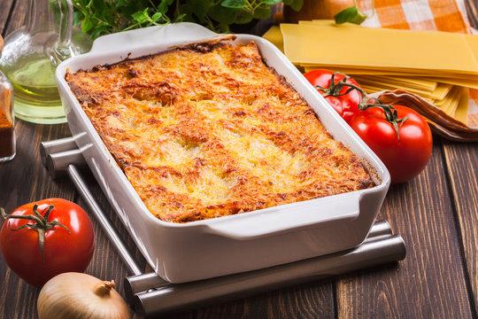 Hot tasty lasagna