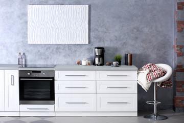 Modern kitchen interior, close up