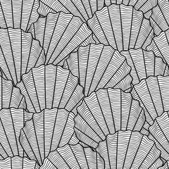 Marine seamless pattern with stylized seashells. Background made without clipping mask. Easy to use for backdrop, textile, wrapping paper