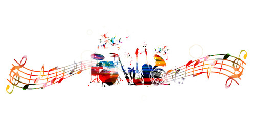 Colorful music instruments background