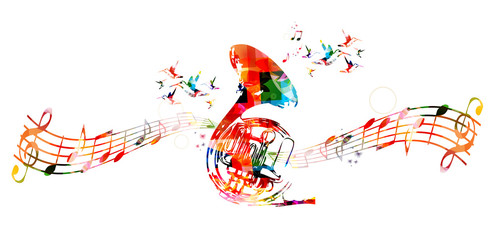 Colorful french horn with hummingbirds
