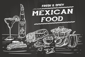 Hand drawn of Mexican food and drinks on a chalkboard