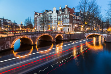 Bridges at the Leidsegracht and Keizersgracht canals intersectio