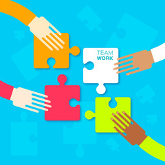 Four hands together team work. Hands putting puzzle pieces. Teamwork and bussiness concept. Hands of different colors, cultural and ethnic diversity. Vector illustration