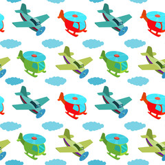 Seamless pattern with cartoon helicopters and planes.