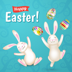 Tow Easter white bunnies and eggs