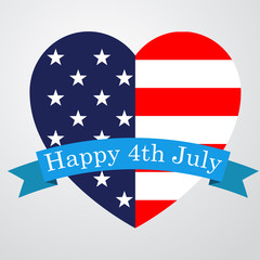 Icono plano Happy 4th July en corazon bandera USA #1