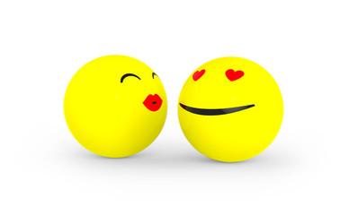 Verliebter Smiley bekommt einen Bussi