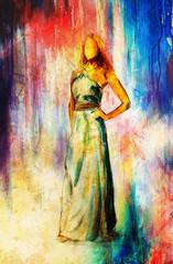 sketch of mystical woman  in beautiful ornamental dress.
