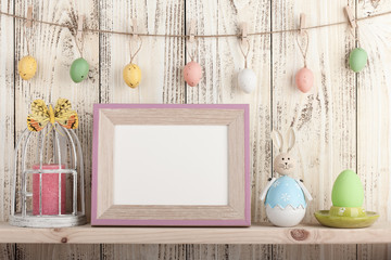 Easter decoration with blank wooden frame