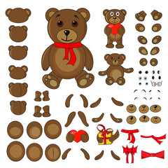 body parts of a bear in the vector