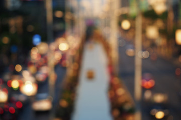 Motion blur of traffic and lights in the city on evening abstrac