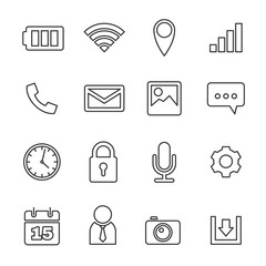 Mobile phone icons set, line vector design