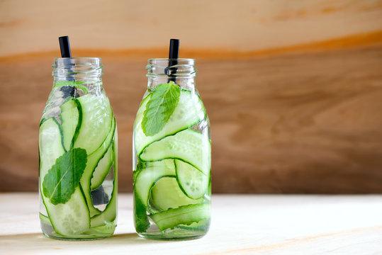 Infused water in bottles