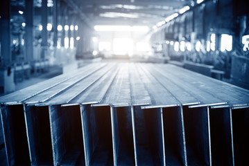Steel factory stacked steel
