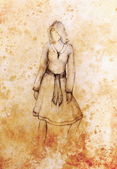 Standing figure woman, pencil sketch on paper.