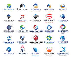 25 Global Insurance Business Solution Group Logo Elements