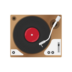 Record player with vinyl record, isolated.