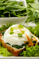 Healthy breakfast - sandwich with creme cheese, spinach and egg.