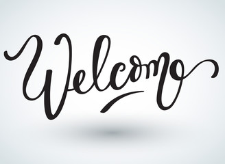 Lettering Welcome On White Background : Vector Illustration