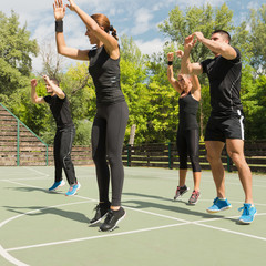 Aerobics group, jumping exercise