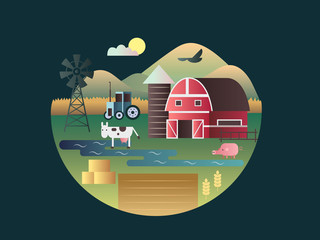 Farm concept flat design