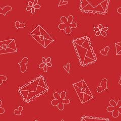Doodle seamless pattern with hearts and envelops