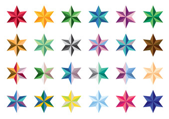 Set of colored stars. Collection of vector stars. Series stars on a white background