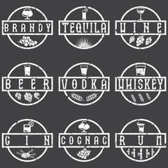 vintage grunge vector labels set of alcohol drinks