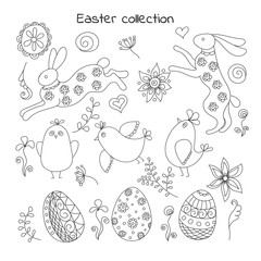Collection of doodle easter elements