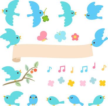 青い小鳥のイラストセット