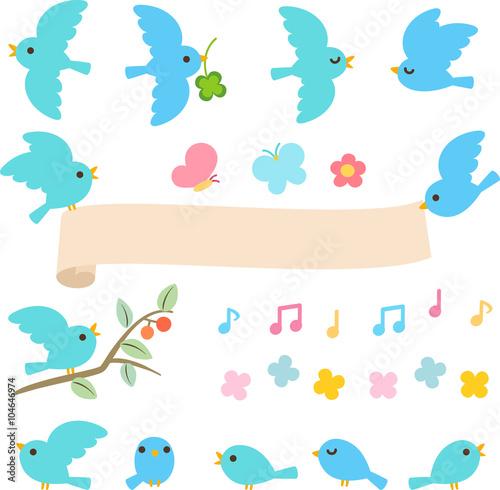 青い小鳥のイラストセットfotoliacom の ストック画像とロイヤリティ