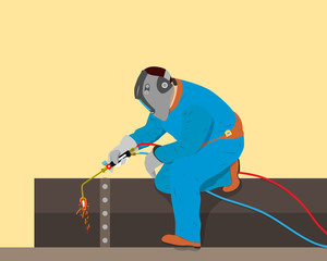 Welder cuts off a piece of iron pipe in the workshop of the gas burner. Vector illustration