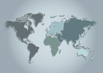 world map continents blue vector - Individual separate continents - Europe Asia Africa America Australia Oceania