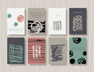 Abstract backgrounds. Set of  Hipster Cards in vintage style
