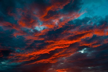 red colors of the sinister sunset