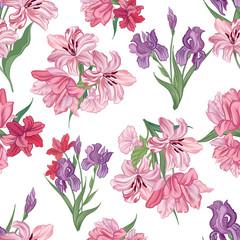 Floral pattern Flower bouquet seamless background. Flourish ornamental texture