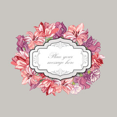 Floral background. Flower bouquet vintage cover. Flourish card with copy space.