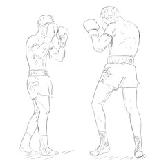 Vector Sketch Two Thai Boxers Fighting. Muay Thai.