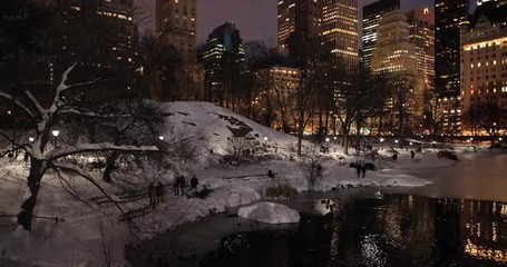 Fototapete - New York Central Park at night in winter