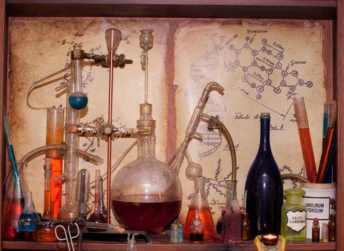 vintage medications, old chemical laboratory